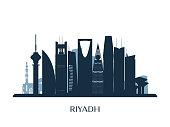 Riyadh skyline, monochrome silhouette. Vector illustration.