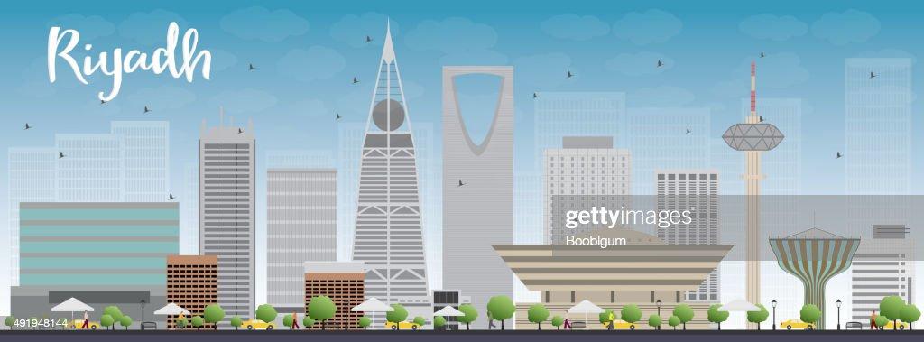 Riyadh skyline with grey buildings and blue sky