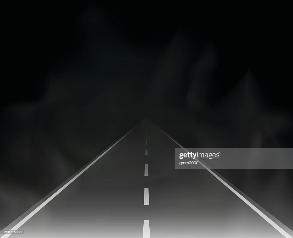 road and fog in the night vector illustration