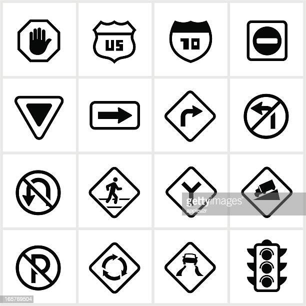 road and pedestrian signs - road sign stock illustrations, clip art, cartoons, & icons