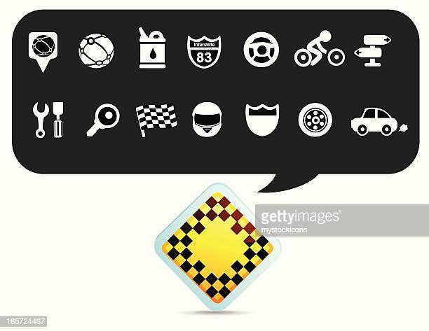 road and racing symbols - motorcycle helmet stock illustrations, clip art, cartoons, & icons