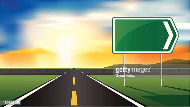 road and sign - vector - dividing line road marking stock illustrations, clip art, cartoons, & icons