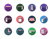 Road barrier gates round color vector icons