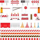 Road barrier vector street traffic-barrier warning and barricade blocks on highway illustration set of roadblock detour and blocked roadwork barrier isolated on white background