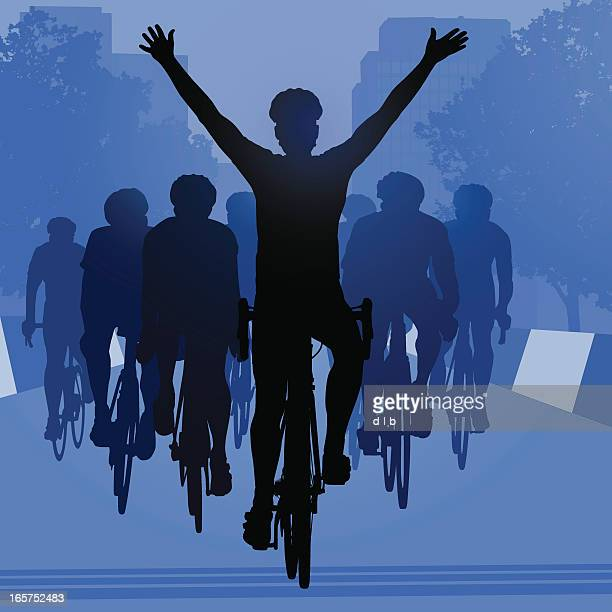 road bike cyclist winning the race in an urban setting - racing bicycle stock illustrations