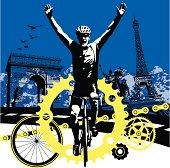 Road Bike Cyclist Winning the Race in Paris France