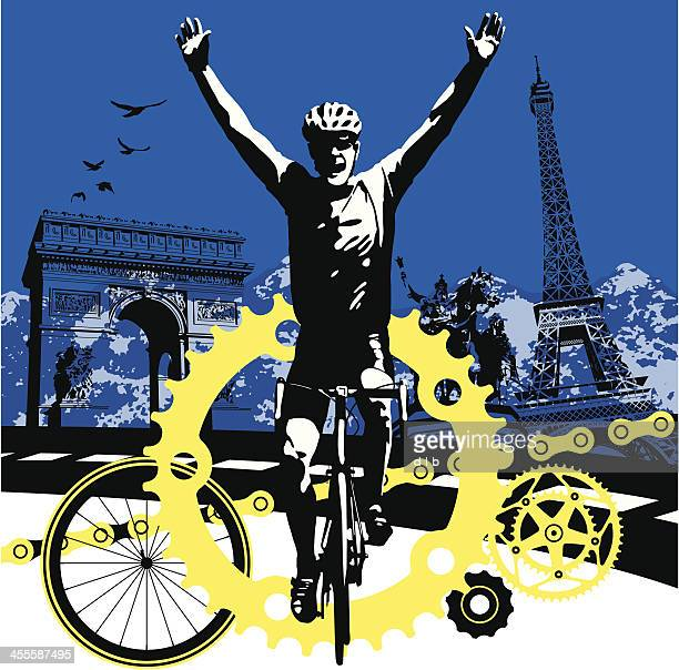 road bike cyclist winning the race in paris france - racing bicycle stock illustrations