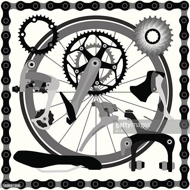 ロードバイク部品 - 変速ギア点のイラスト素材/クリップアート素材/マンガ素材/アイコン素材
