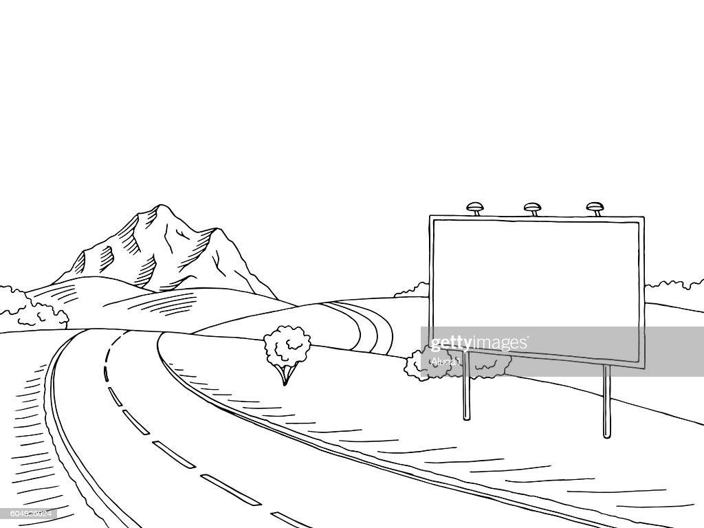 Road billboard graphic art black white landscape sketch illustration vector