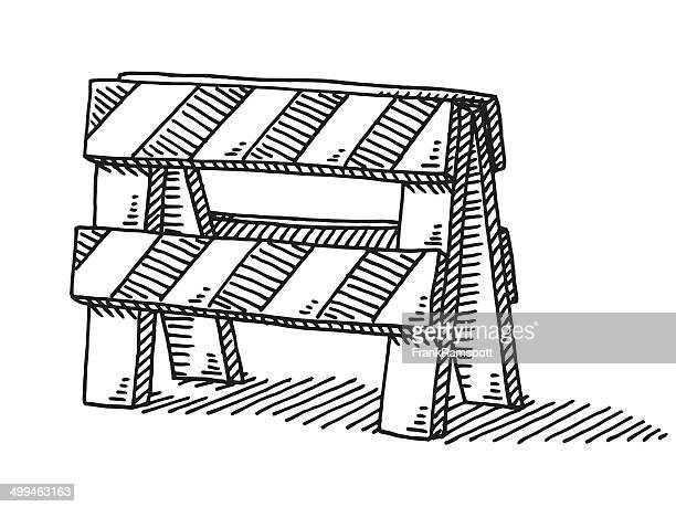 road block barrier drawing - road construction stock illustrations