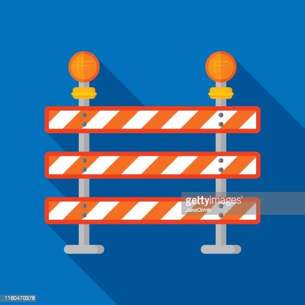 road block sign icon flat - barricade stock illustrations