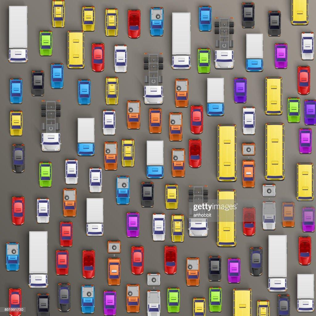 Road cars transport, traffic jam background.