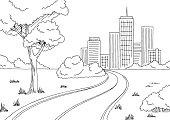 Road city graphic black white city landscape sketch illustration vector