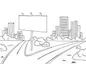 Road city graphic black white landscape billboard sketch illustration vector