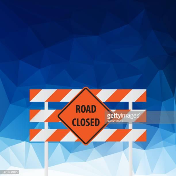 Straßenschild geschlossen mit blauer Farbe Hintergrund