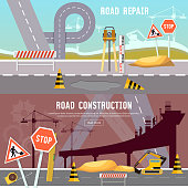 Road construction and road repair banner. Repair is expensive in the city. Road works construction and repair elements vector