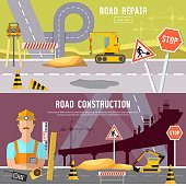 Road construction and road repair banner. Repair is expensive in the city. Road works construction and repair elements