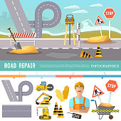 Road construction and road repair infographic. Repair is expensive in the city. Road works construction and repair elements