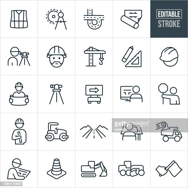 road construction line icons - editable stroke - commercial land vehicle stock illustrations