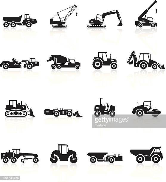 Road Construction Vehicles Silhouette - Black Series