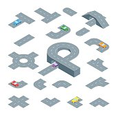 Road Element Set Isometric View. Vector