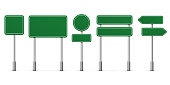 Road green signs. Vector blank isolated icons template