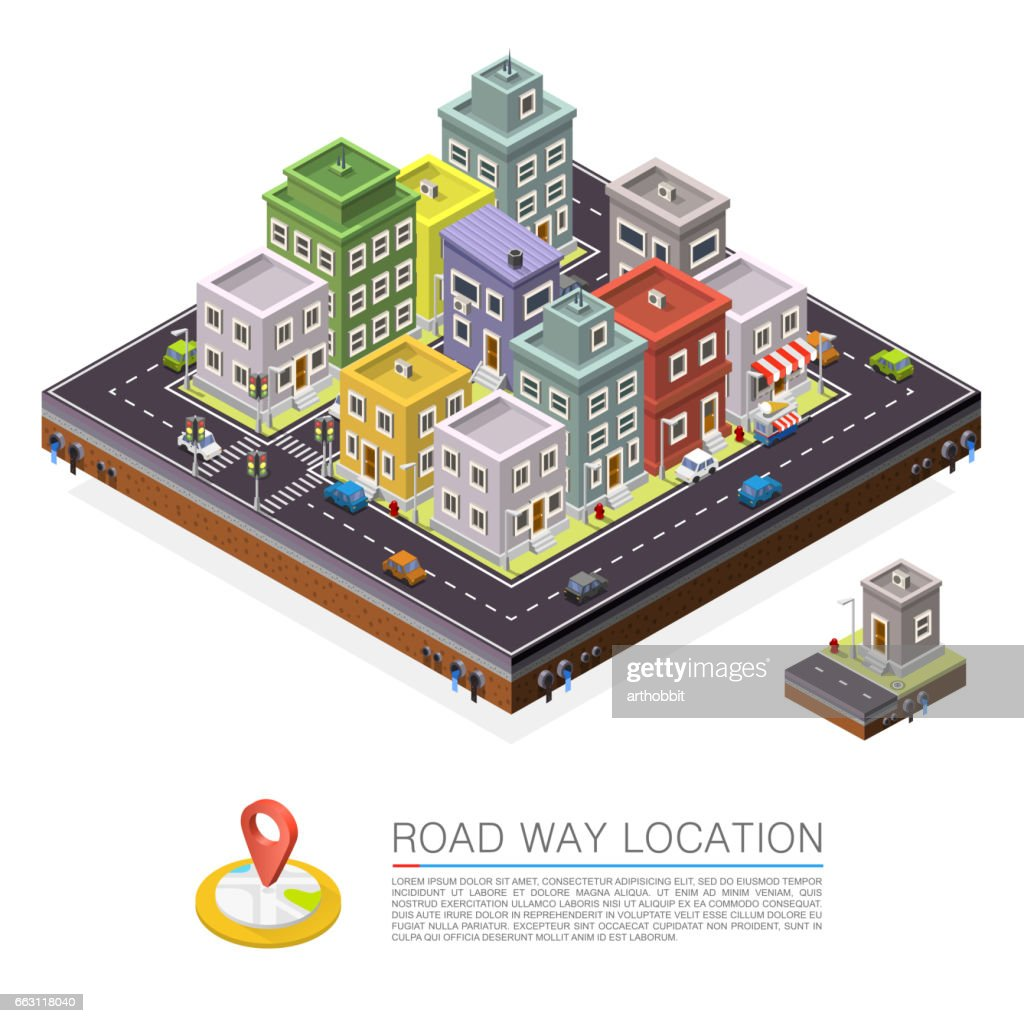 Road in the city Isometric, cityscape location, Vector background