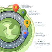 Road infographics, location and GPS navigation. Vector illustration of pin map symbol, waypoint marker on the roundabout