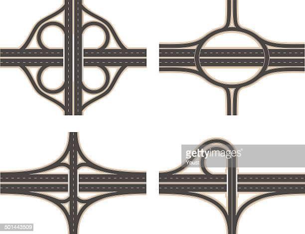 road interchange set - overpass road stock illustrations