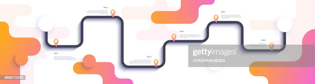 Road map and journey route infographics template. Winding road timeline illustration.