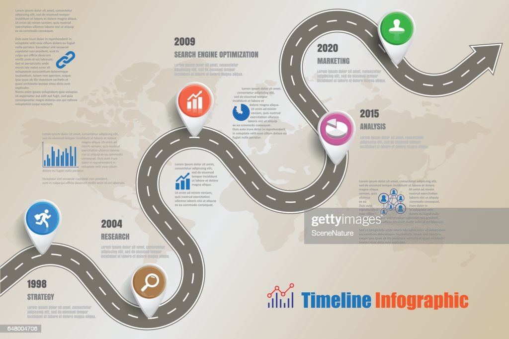 Road map Business Timeline, Vector Illustration