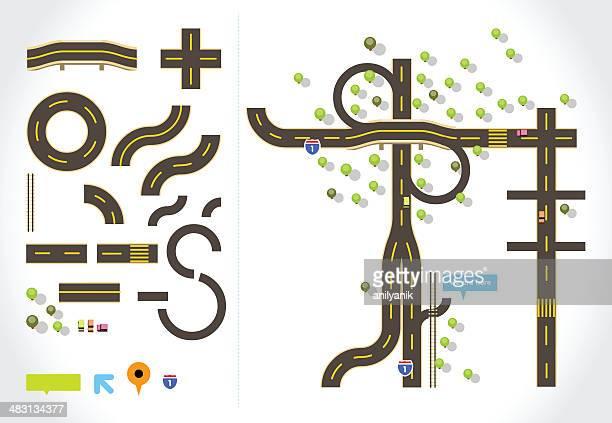 ilustraciones, imágenes clip art, dibujos animados e iconos de stock de mapa de carretera - vista desde arriba