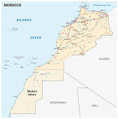 Road map of the Kingdom of Morocco