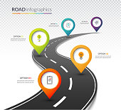 Road map timeline infographic template with 5 colorful pin pointers on the way. Vector illustration
