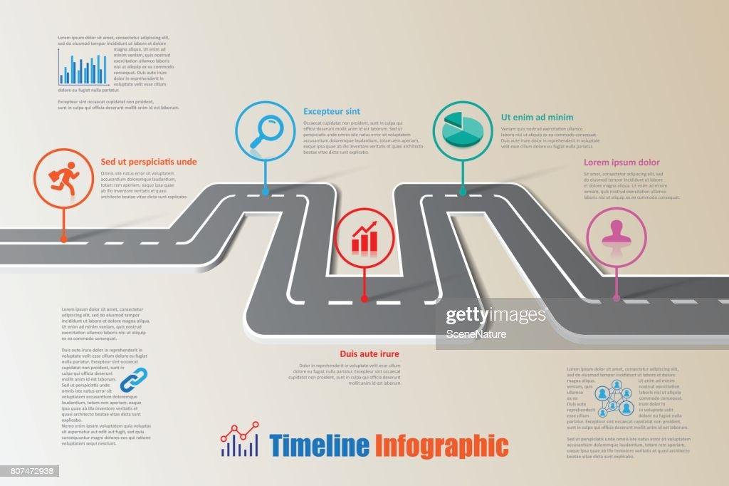road map timeline infographic vector illustration vector art