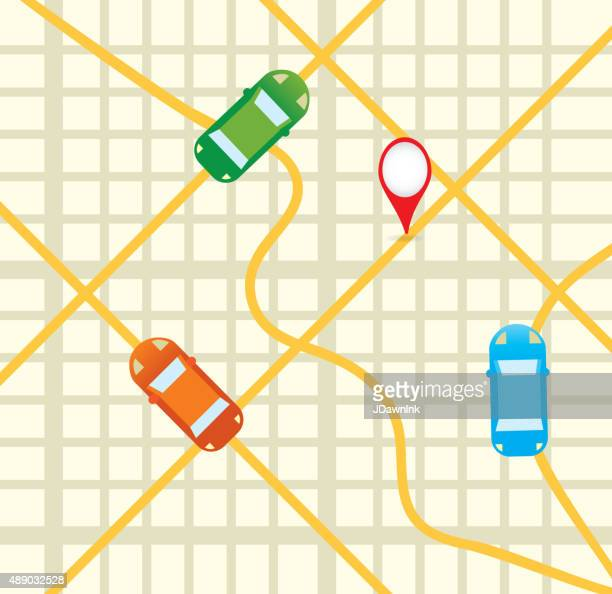 road map with cars aerial mobile phone app icon design - taxi stock illustrations