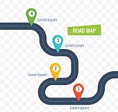 Road map with colorful bright marks markers and road