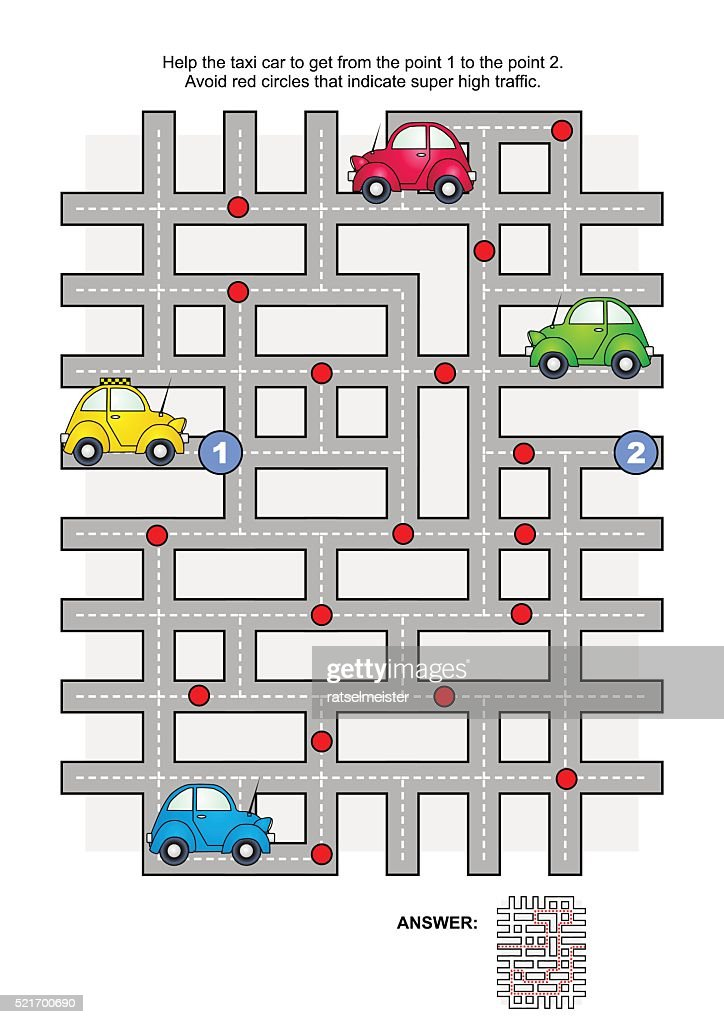 Road maze with taxi car