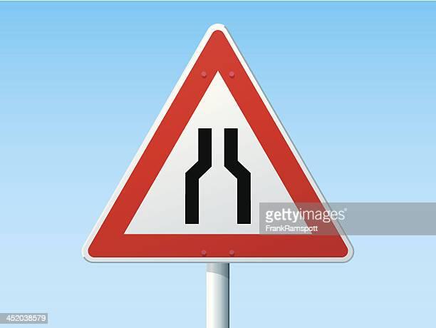 Straße schmaler wird auf beiden Seiten Deutsch-Warnschild
