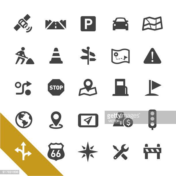 road navigation icons - select series - stoplight stock illustrations