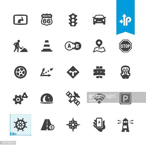 road navigation vector icons - putting stock illustrations