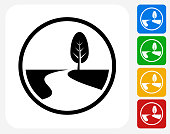 Road Path and Tree Icon Flat Graphic Design