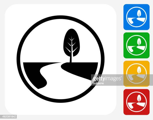 road path and tree icon flat graphic design - footpath stock illustrations