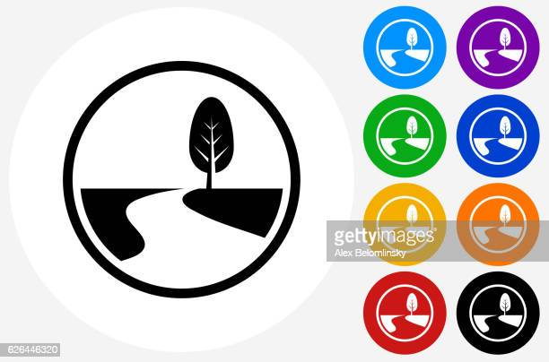 Road Path and Tree Icon on Flat Color Circle Buttons