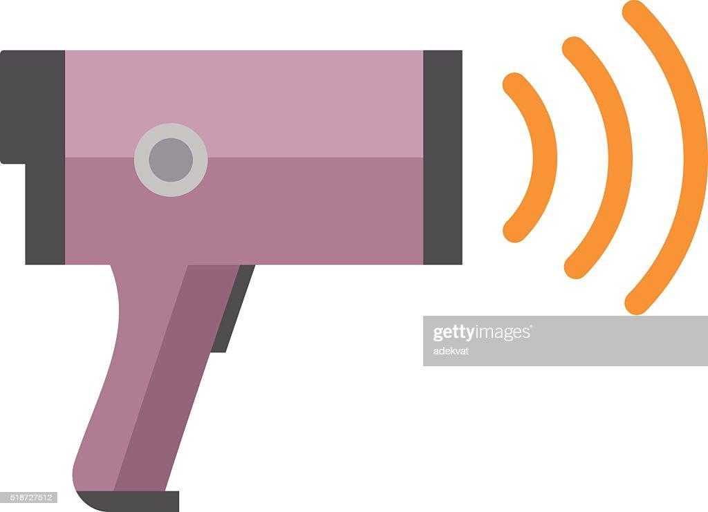 Road police radar speed security equipment flat vector illustration