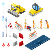Road repair and construction, vector 3D isometric isolated icons