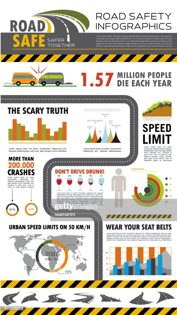 Road safety infographics poster design