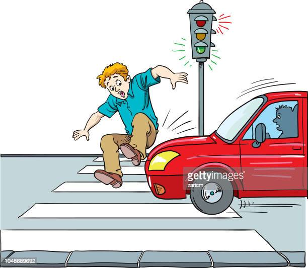 ilustraciones, imágenes clip art, dibujos animados e iconos de stock de seguridad vial, hombre sobre al ser atropellado por un coche. - car crash