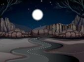 Road scene in the desert land at night