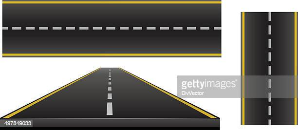 road set - two lane highway stock illustrations